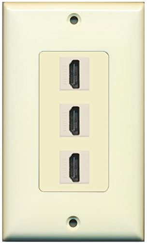 RiteAV - Beige Ivory 3 HDMI Port Wall Plate with Ivory Jacks - Decorative