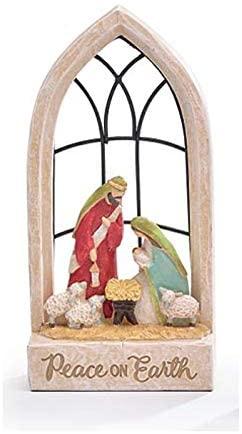 Rustic Church Window Nativity Scene Peace on Earth Decoration – Christian Christmas Home Decor – Religious Tabletop Holiday Sign
