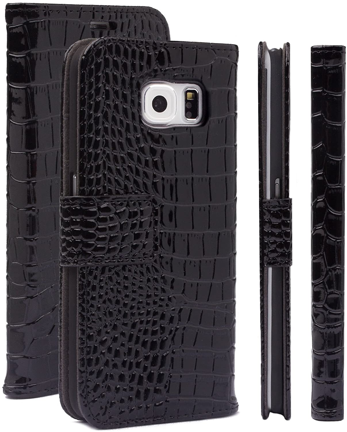 Samsung Galaxy S6 Edge Case | iCues Caiman Crocodile Black | Maraba Wallet | Other Leather - and Color Variations Available | Protective Cover with Card Slots - Kickstand and Gift Box | Flip Folio