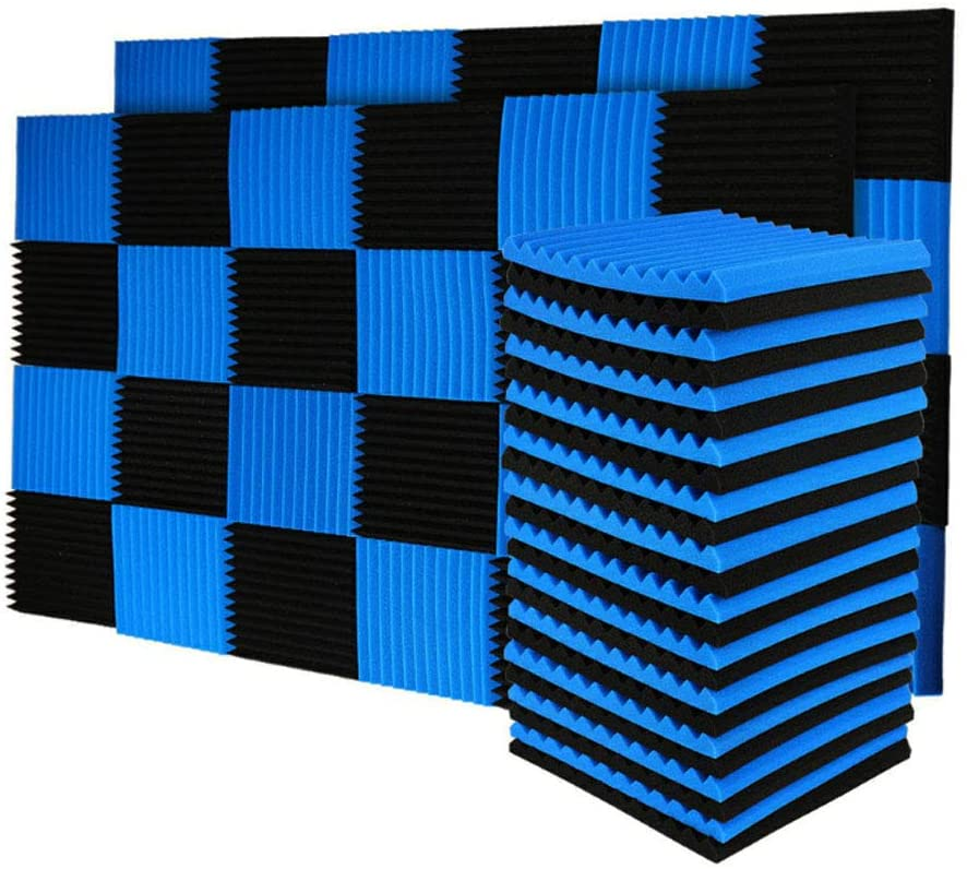 96 Pack Black/Blue Acoustic Panels Studio Foam Wedges 1