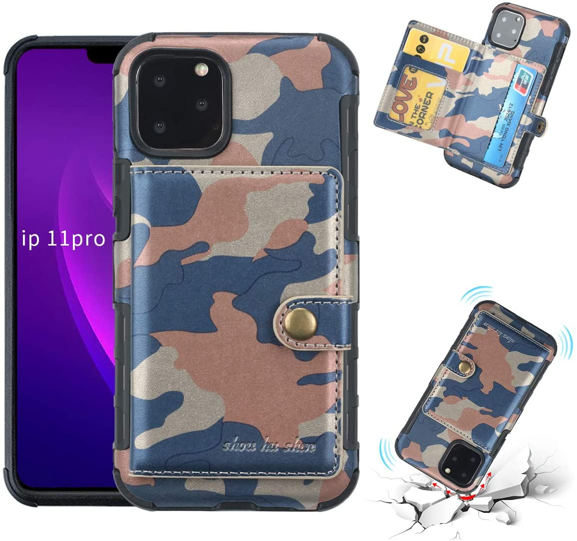 FDTCYDS iPhone 11 Pro Case with Card Holder,Shockproof Camouflage Armor Silicone Hybrid Rugged Protective Kickstand Wallet Cover Case for Apple iPhone 11 Pro (5.8 inch Edition) - Camo Blue