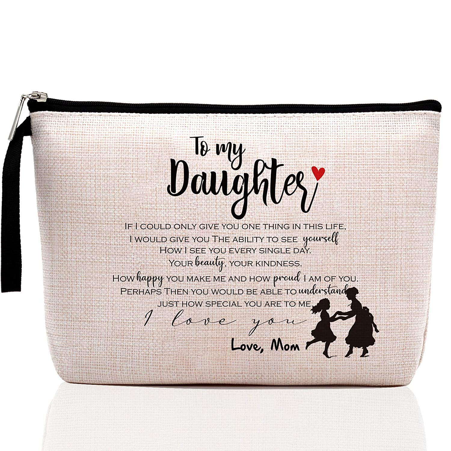 Daughter Gifts from Mom, Daughter Birthday Gifts, Daughter in Law Gifts, Graduation Gifts for Her, Sentimental Gifts for Daughter, Makeup Bag, Pencil Case
