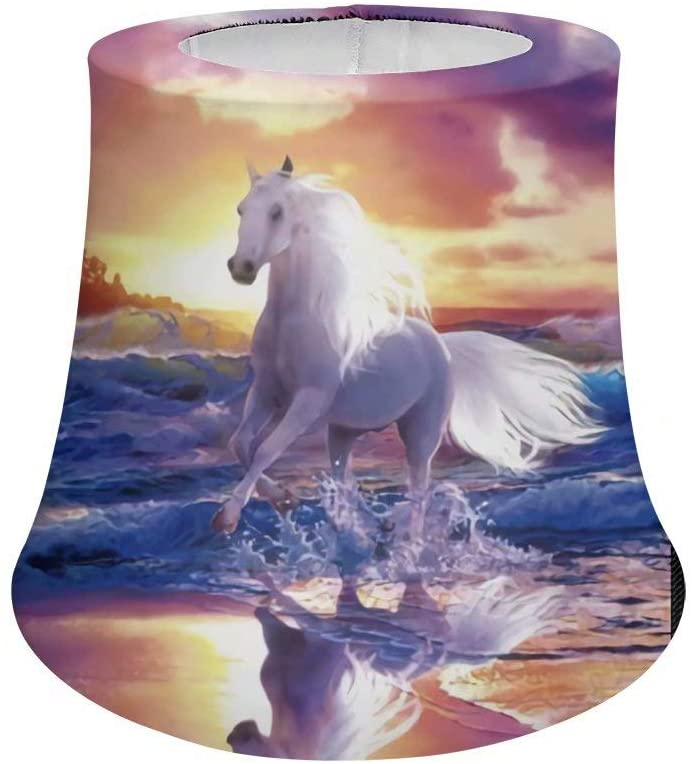 Snilety Horse on The Beach Print Kids Desk Lamp Shade Flexible Elastic Washable Table Lampshades Suitable for Bedroom Living Room Office Decor L
