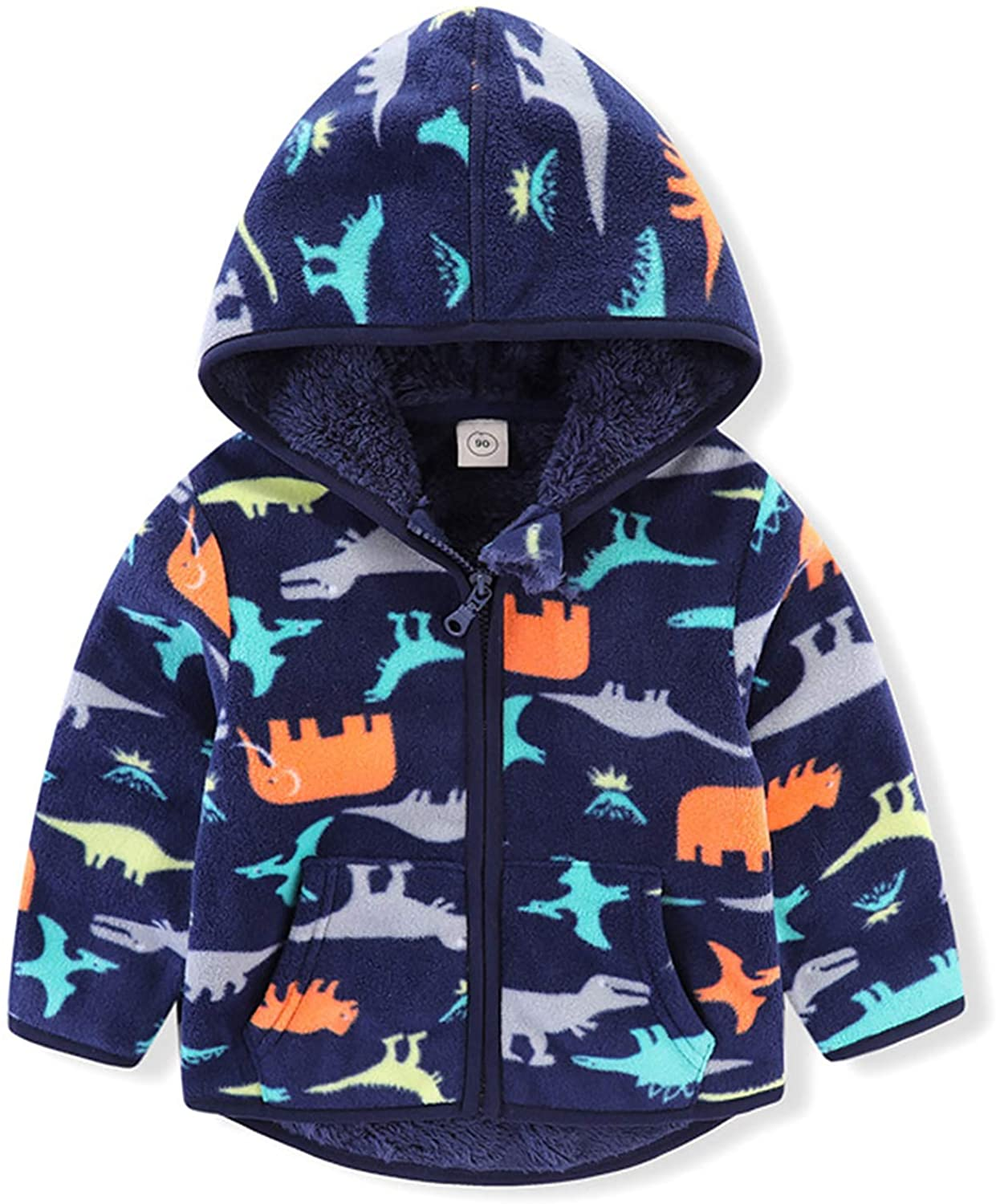 IDOPIP Fleece Jacket with Hoodies for Toddler Kids Baby Boy Girl Cartoon Dinosaur Car Print Coat Winter Thick Warm Outerwear