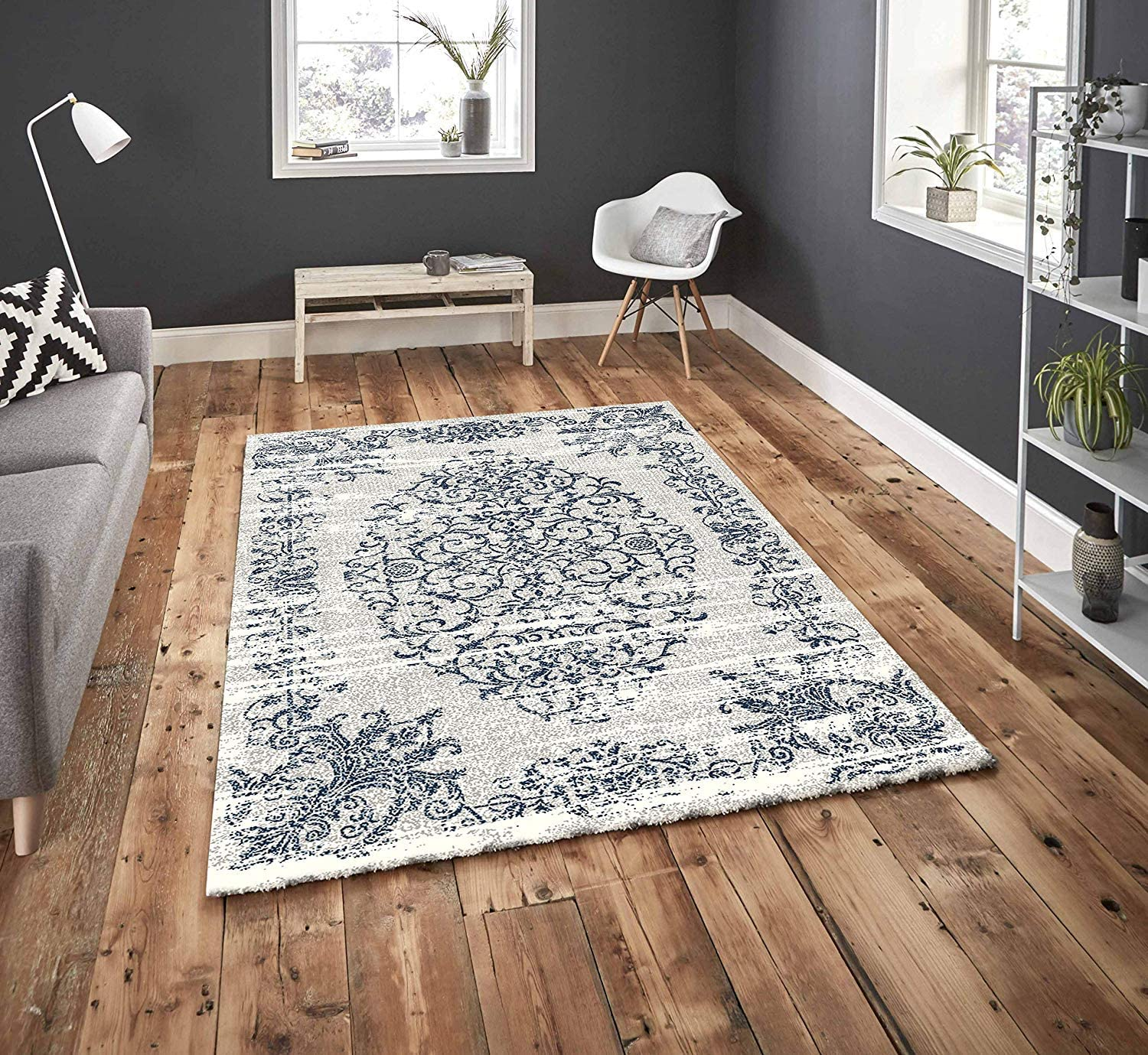 Pyramid Collection Low Pile Soft Plush Abstract Modern Non Shedding Living Room Area Rug (8x10, P07-CREAM&Black)