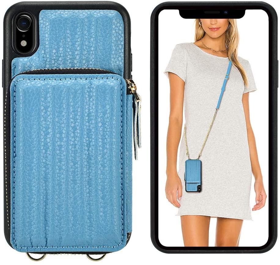 iPhone XR Crossbody Case, iPhone XR Zipper Wallet Case, ZVEdeng iPhone XR Case with Card Holder Crossbody Strap Slim Leather Case Mini Crossbody Bag for iPhone XR 6.1inch-Haze Blue