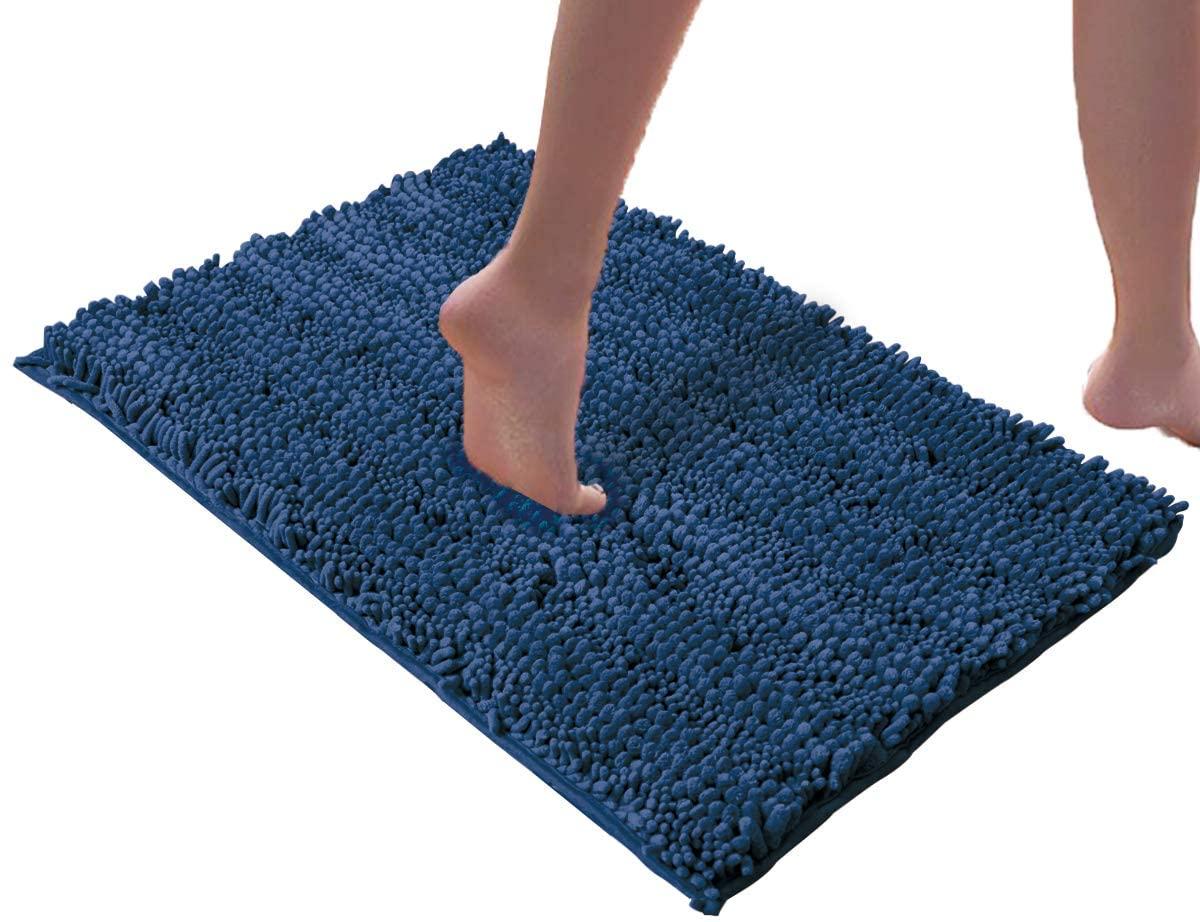 DEARTOWN Non-Slip Shaggy Bathroom Rug,Soft Microfibers Bath Mat with Water Absorbent, Machine Washable (27.5x47 Inches, Blue)