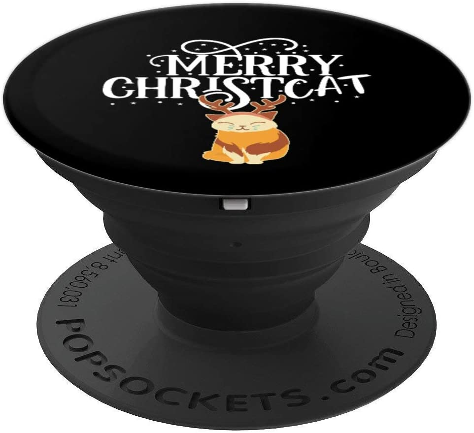 Merry Christ Cat Kitty Lover Reindeer Gift PopSockets Grip and Stand for Phones and Tablets