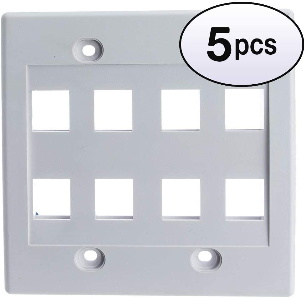 GOWOS (5 Pack) Keystone Wall Plate, White, 8 Hole, Dual Gang