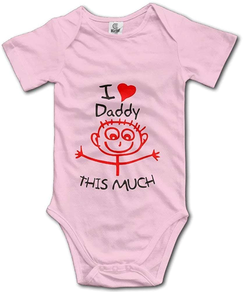 I Love Daddy This Much Cute Infant Toddler Rompers Baby Bodysuit Short Sleeve Unisex