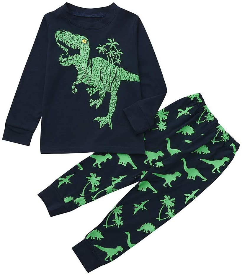 Girls Outfits&Set, Baby Girls Boys Kid Dinosaur Cartoon Tops+Pants Pajamas Sleepwear Sets Clothes, Clothes for Boys and Girls