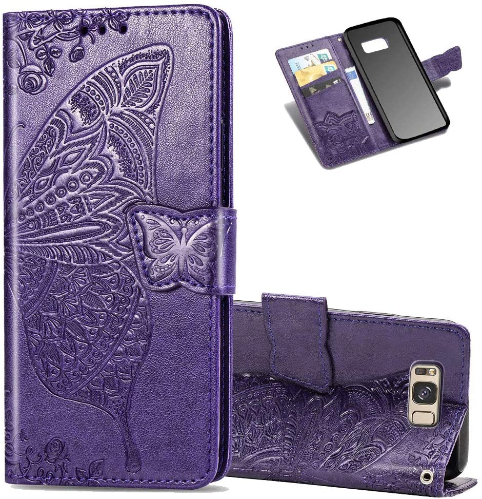 Asdsinfor Galaxy S8 Plus Case Full Stylish Advanced Embossing Wallet Case Credit Cards Slot with Stand for PU Leather Shockproof Flip Magnetic Case for Samsung Galaxy S8 Plus Butterfly Purple SD