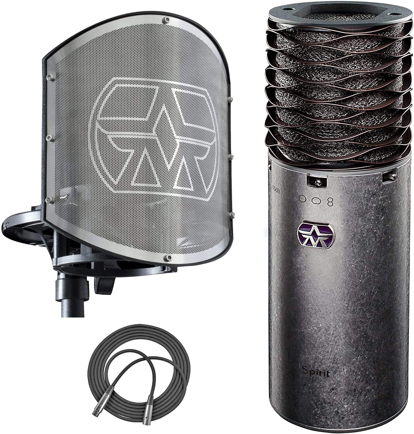 Aston Microphones Multi-Pattern Condenser Microphone Omni/Cardioid/Figure-Of-Eight Patterns + Aston Microphones Shockmount & Pop-Filter Combo + XLR Mic Cable