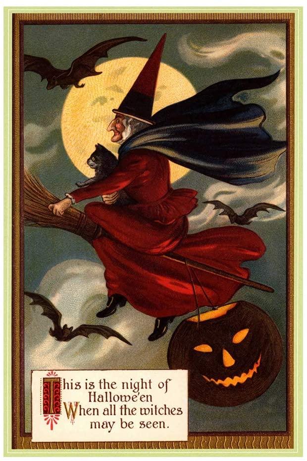INNAPER Halloween Sign Metal Sign Indoor Outdoor Wall Decor Halloween Decoration Witch Sign 8 X 12