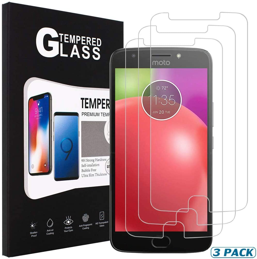 [3 Pack] SENON Compatible with Moto E4 / Moto E (4th Generation) Screen Protector,Tempered Glass,Crystal Clear,Anti-Bubble,Anti-Fingerprint,Lifetime Replacements Warranty