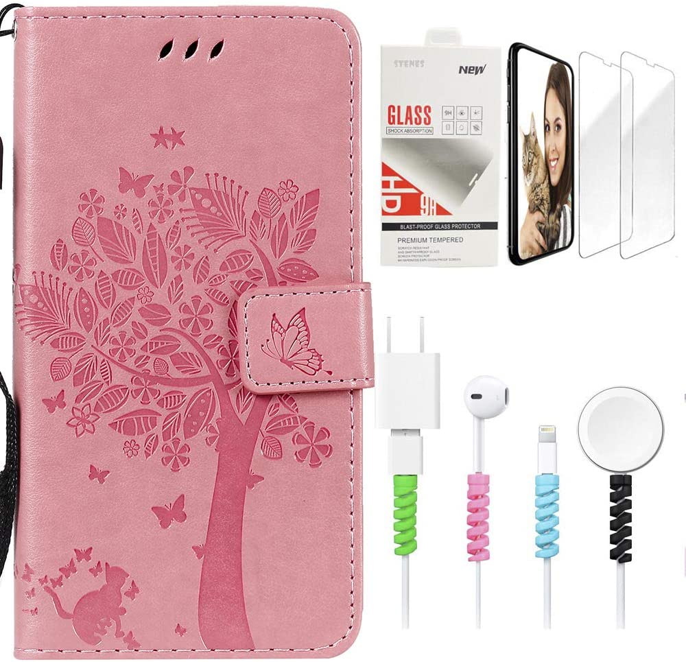 STENES Wallet Phone Case Compatible with Samsung Galaxy J7 (2017) - Stylish Series Cat Tree Butterfly Design Stand Leather Cover with Screen Protector & Cable Protector - Pink