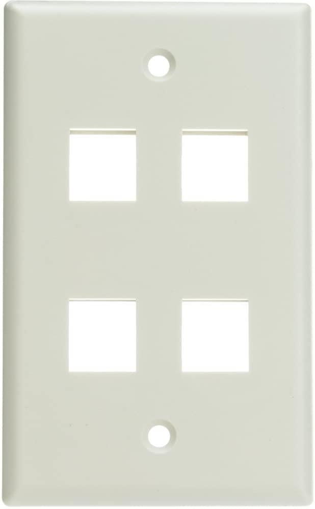 ACL Keystone 4 Port, Single Gang Wall Plate, White, 3 Pack