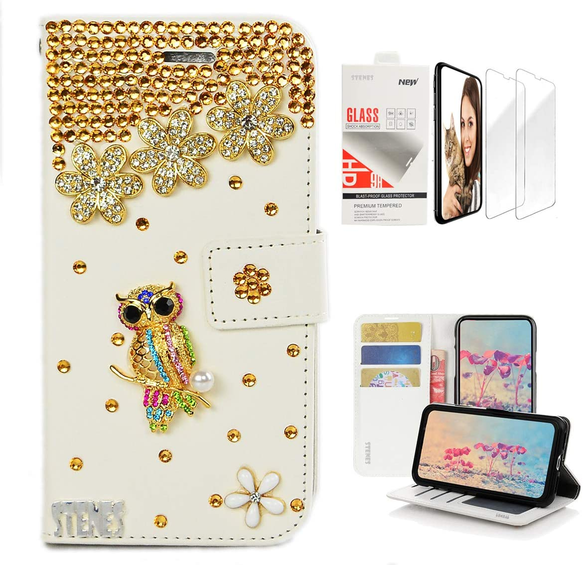 STENES Bling Wallet Case Compatible with iPod Touch 6th/5th Generation - 3D Handmade Pretty Night Owl Floral Design Leather Case with Wrist Strap & Screen Protector [2 Pack] - Gold