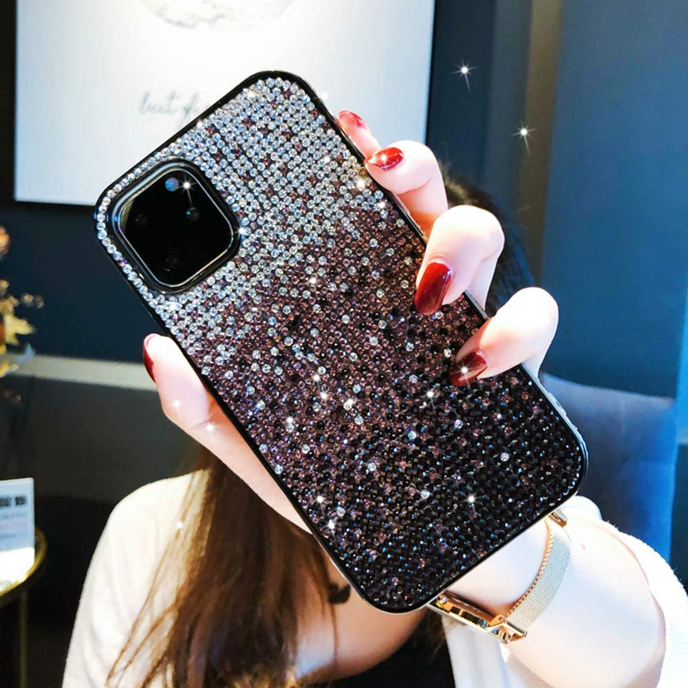 Winhoo iPhone 11 Case,Gradient Glitter Sparkle Bling Case Luxury Shiny Crystal Rhinestone Diamond TPU Bumpe Protective Case Cover for iPhone 11(Purple)