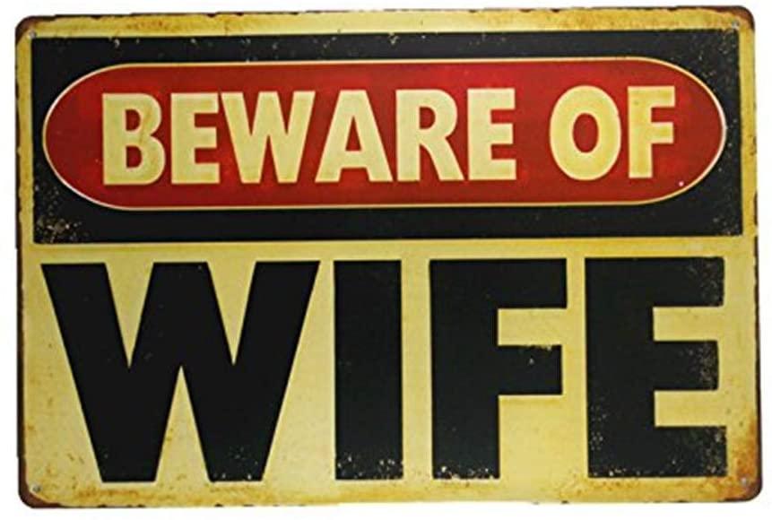 YILMEN Beware Wife Metal Painting Garage Wall Sticker Antique Decor bar Signs (M0019)
