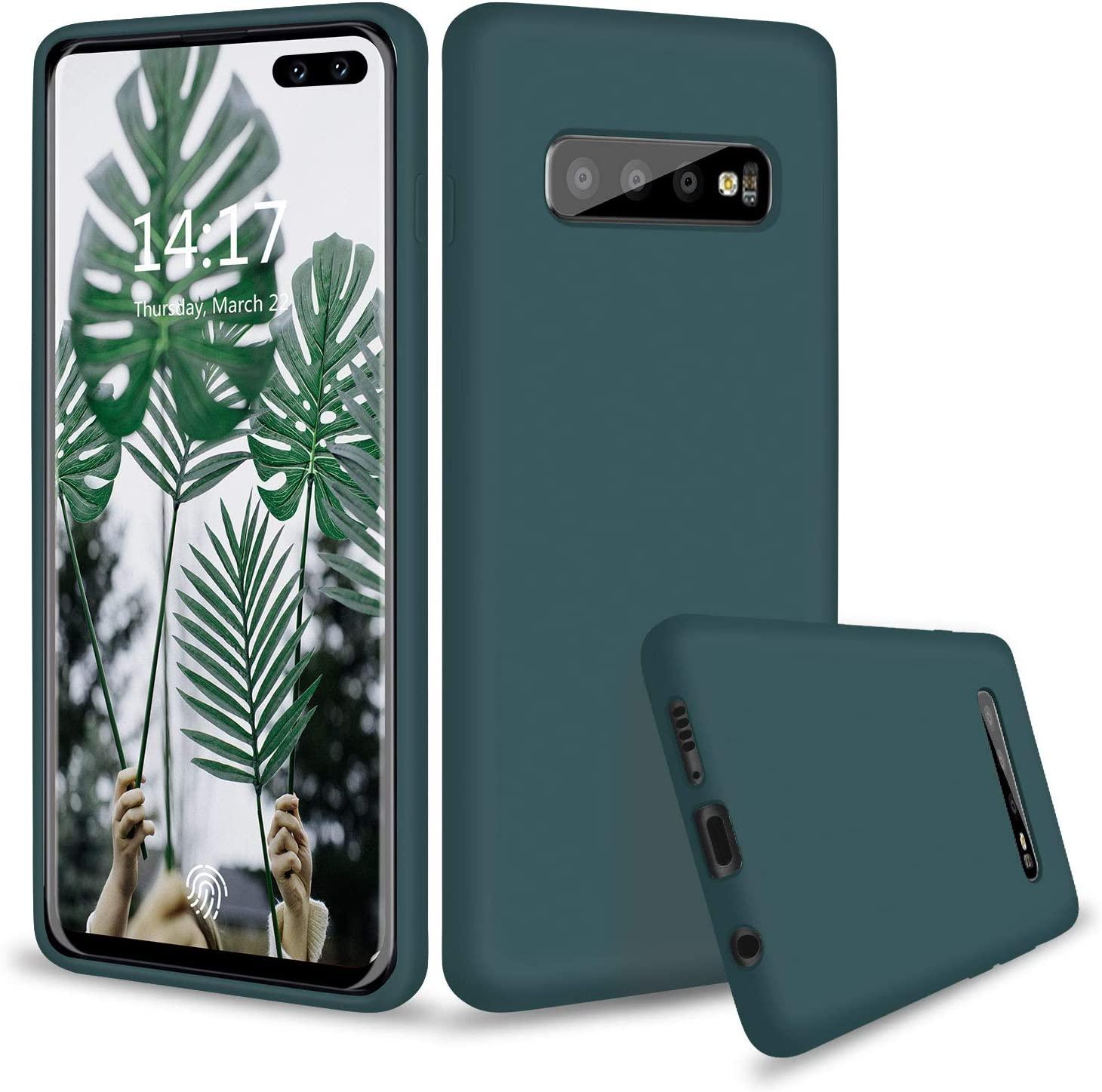 abitku Galaxy S10 Plus Case Silicone, Slim Liquid Silicone Gel Rubber Shockproof Soft Microfiber Cloth Lining Cushion Compatible with Galaxy S10 Plus 6.4 inch 2019 (Ocean Green)