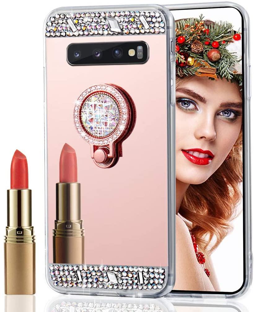Asdsinfor Galaxy S10 Plus Case Stylish Luxury Crystal Diamond Ring Bracket Makeup Mirror Case Cover for Samsung Galaxy S10 Plus Rose Gold Ring Diamond Mirror