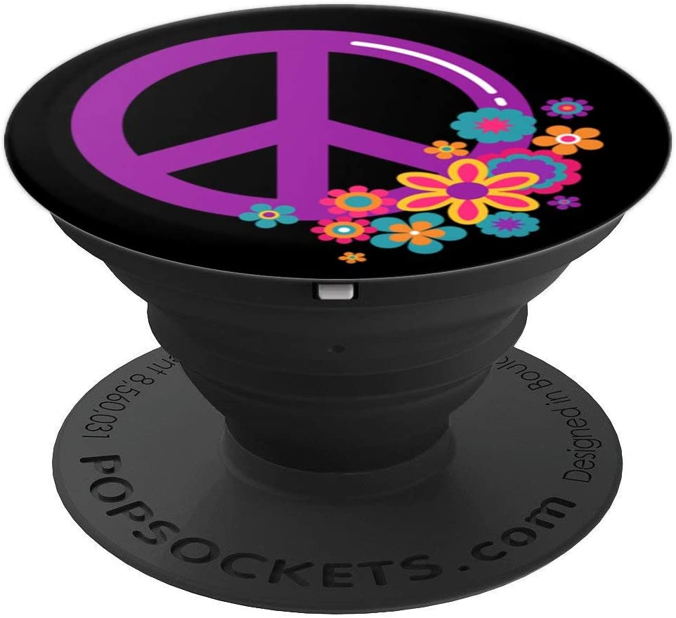 Cute Purple Hippie Peace Sign and Flowers on Black PACJ0170 PopSockets Grip and Stand for Phones and Tablets