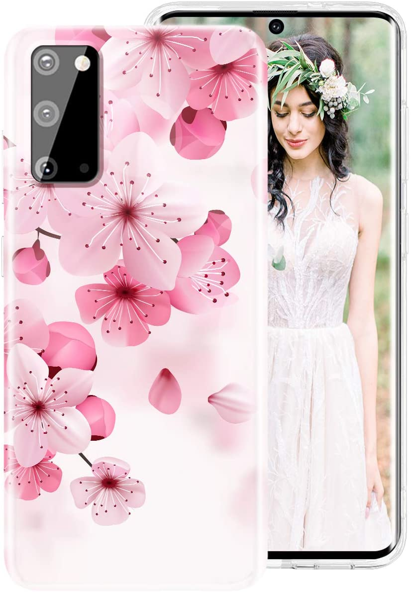 Galaxy S9 Case for Women Girls, iDLike Floral Flower Cherry Blossom Pattern Cute Design Soft Silicone Protective Phone Case Cover for Samsung Galaxy S9 5.8 2018, Pink