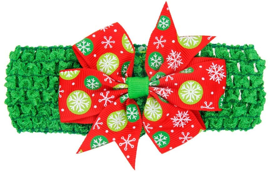 Ywoow 0-3Y Childrens Baby Christmas Snowman Swallowtail Bow Hair Band Hair Ornaments Newborn Toddler Kid Baby Girls Bow Christmas