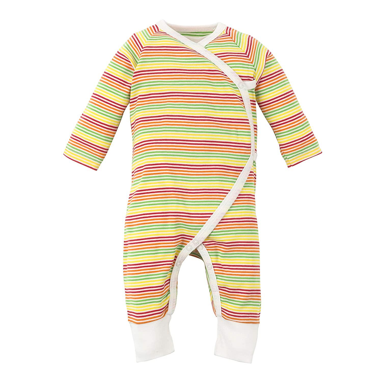 Under The Nile Organic Cotton Unisex Baby Multicolor Stripe Side Snap Kimono, 0-3m