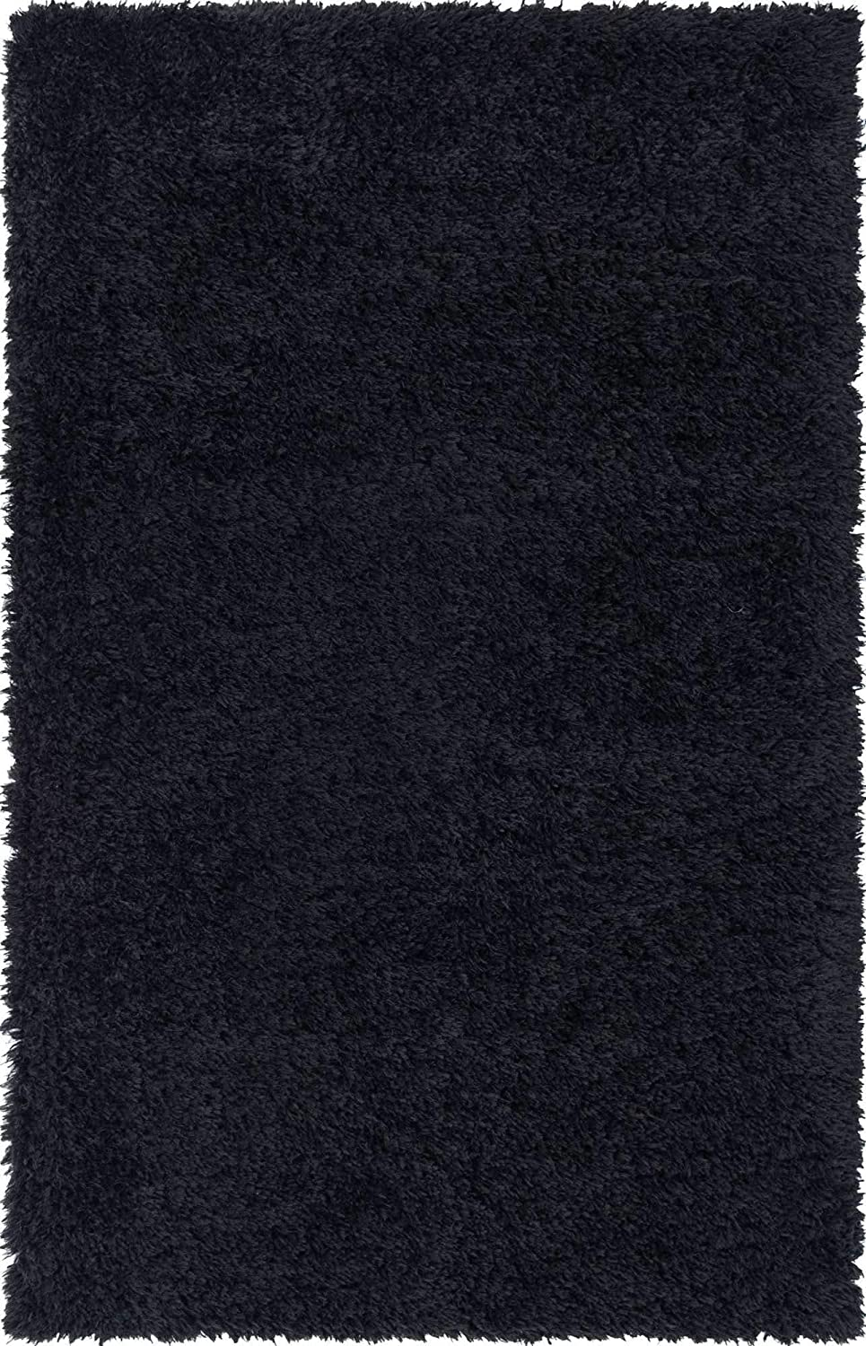 Infinity Collection Solid Shag Area Rug by Rugs.com – Black 8' x 11' High-Pile Plush Shag Rug Perfect for Living Rooms, Bedrooms, Dining Rooms and More
