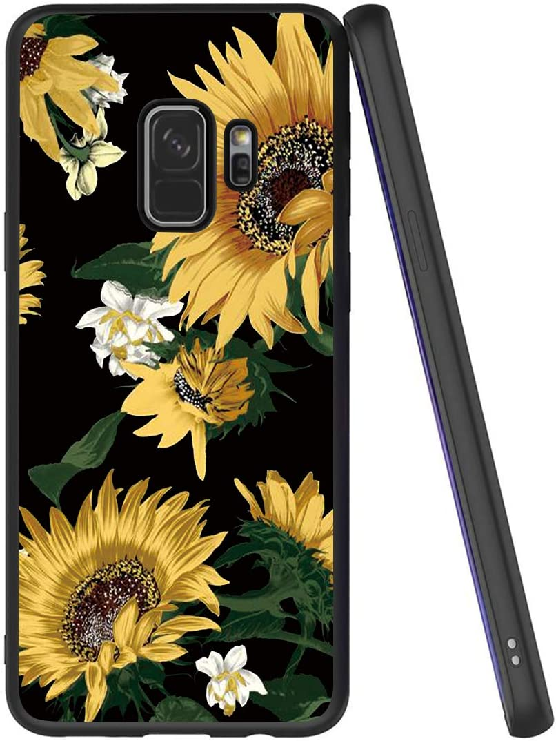 Yoedge Case for Galaxy S9, Black Phone Case with Pattern [Ultra Slim] Shockproof Flexible Soft Gel TPU Silicone Back Cover Bumper Skin forSamsung Galaxy S9 (Sunflower)