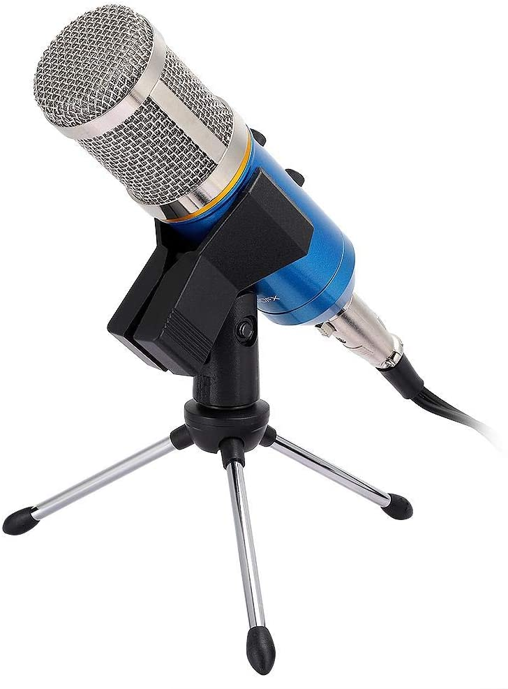 Microphone, Condenser microphone, Cardioid condenser microphone in live streaming, with integrated reverb, for computer, Plug and Play