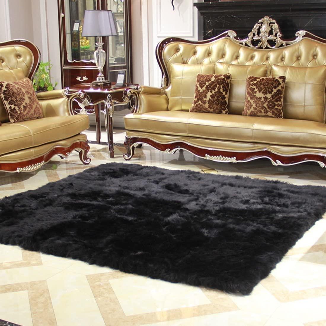 Elhouse Home Decor Square Rugs Faux Fur Sheepskin Area Rug Shaggy Carpet Fluffy Rug for Baby Bedroom,8ftx10ft,Black