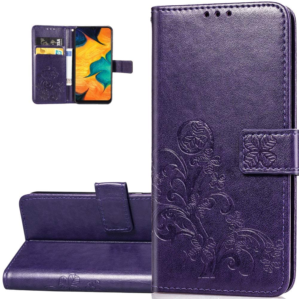 LEMAXELERS Huawei P40 Pro Case Embossed Lucky Clover Floral with Card Slots Magnetic Flip Stand Premium PU Leather Wallet Shockproof Protective Cover for Huawei P40 Pro Clover Purple SD