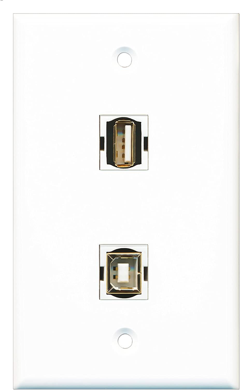 RiteAV - 1 Port USB A-A 1 Port USB B-B Wall Plate - Bracket Included