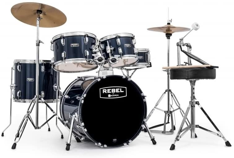 Mapex RB5844FTCYB Rebel 5-Piece Drum Set with Hardware, Cymbals and 22