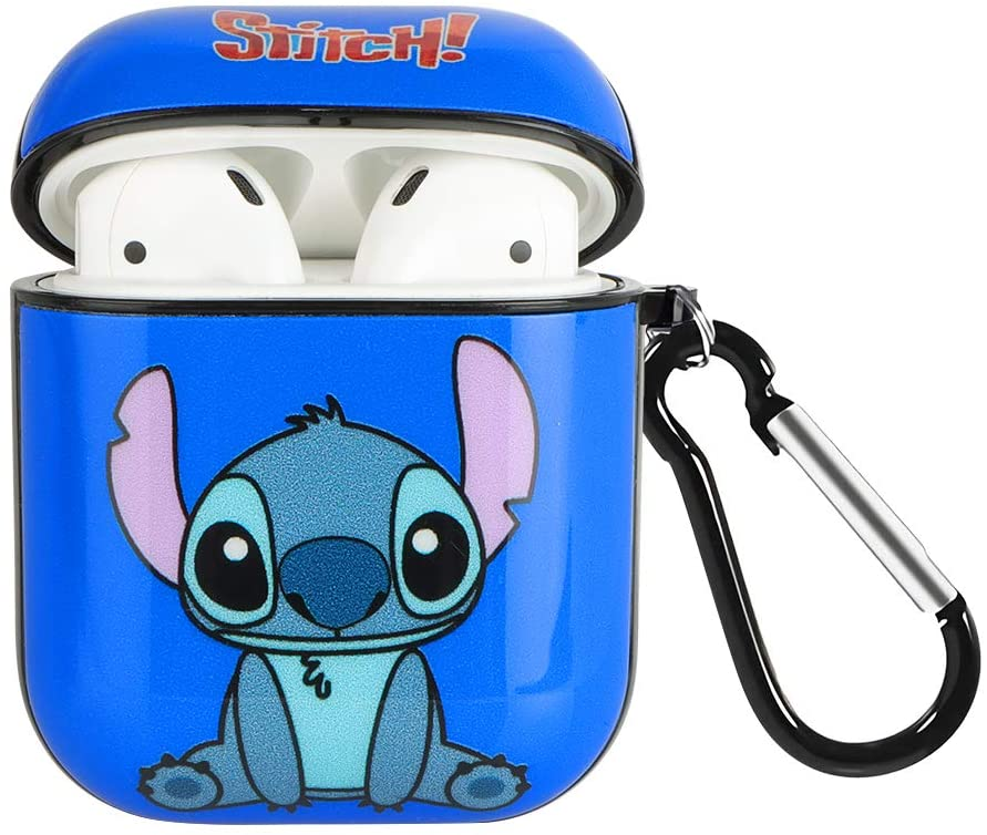 DISNEY COLLECTION AirPods Case, Cartoon Cute Stitch AirPods Cover Accessories Soft Silicone Fully Protected Shockproof Case with Keychain Compatible with Apple AirPods 1&2 (Blue)