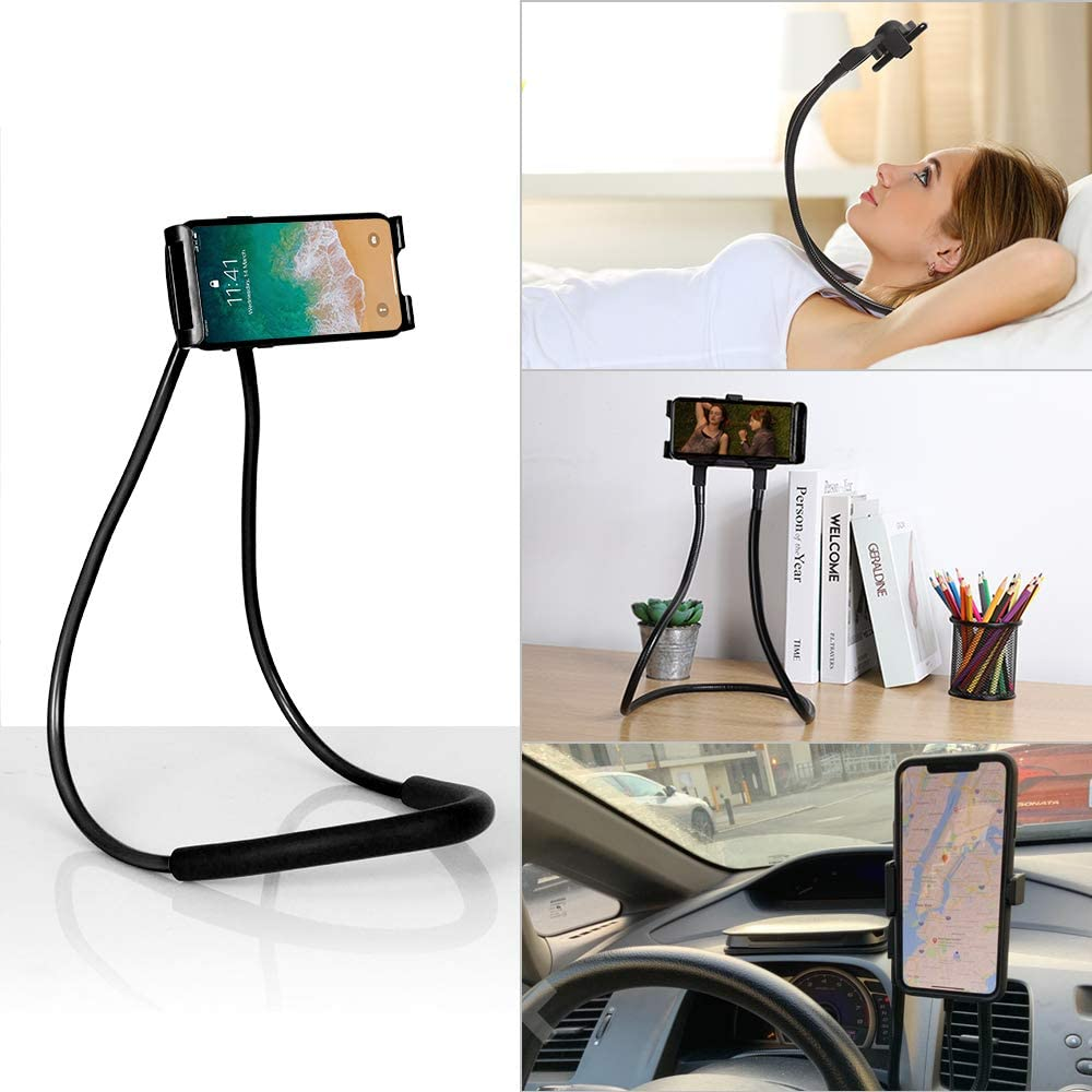 NEX Cell Phone Holder, Universal Mobile Phone Stand, Lazy Tablet Bracket, Adjustable Rotating Neck Phone Holder Gooseneck Mount with Multiple Function (Black)