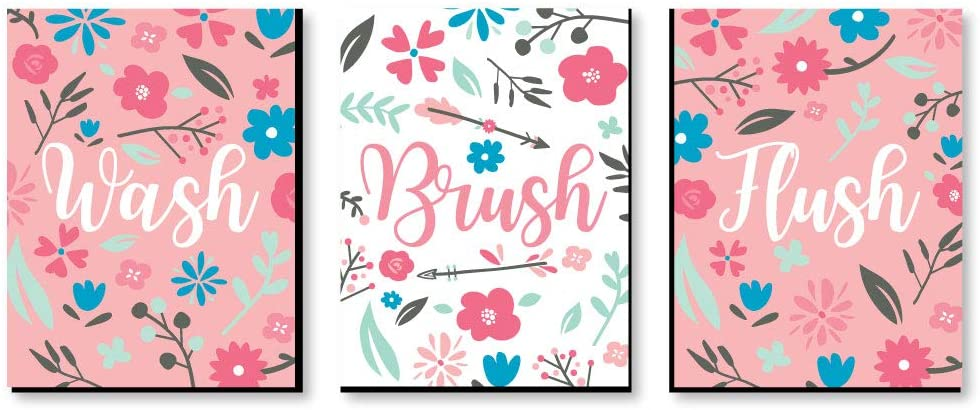 Big Dot of Happiness She's a Wild One - Kids Bathroom Rules Wall Art - 7.5 x 10 inches - Set of 3 Signs - Wash, Brush, Flush