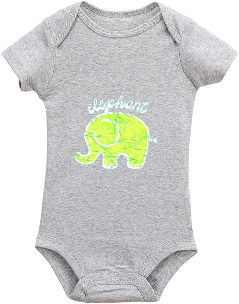 Ecley Elephant Inafant Newborn Baby Boy Girl Clothes Long-Short Sleeve Unisex Bodysuit Romper 18-24 Months