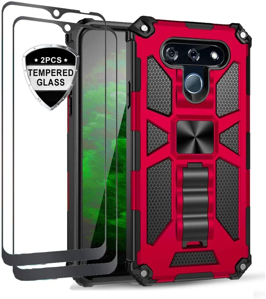 Tznzxm LG K51 Case, LG K51 Screen Protector,[ Military Grade ][Impact Resistant][Defender][Magnetic Car Mount] Armor Kickstand Full Body Protective Case Tempered Glass [2 Pcs] for LG K51 Red