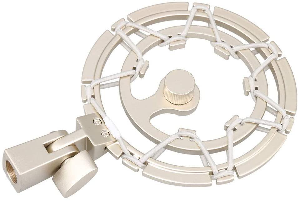 Champagne Gold Round Microphone Shock Mount Holder Anti Vibration Adjustable