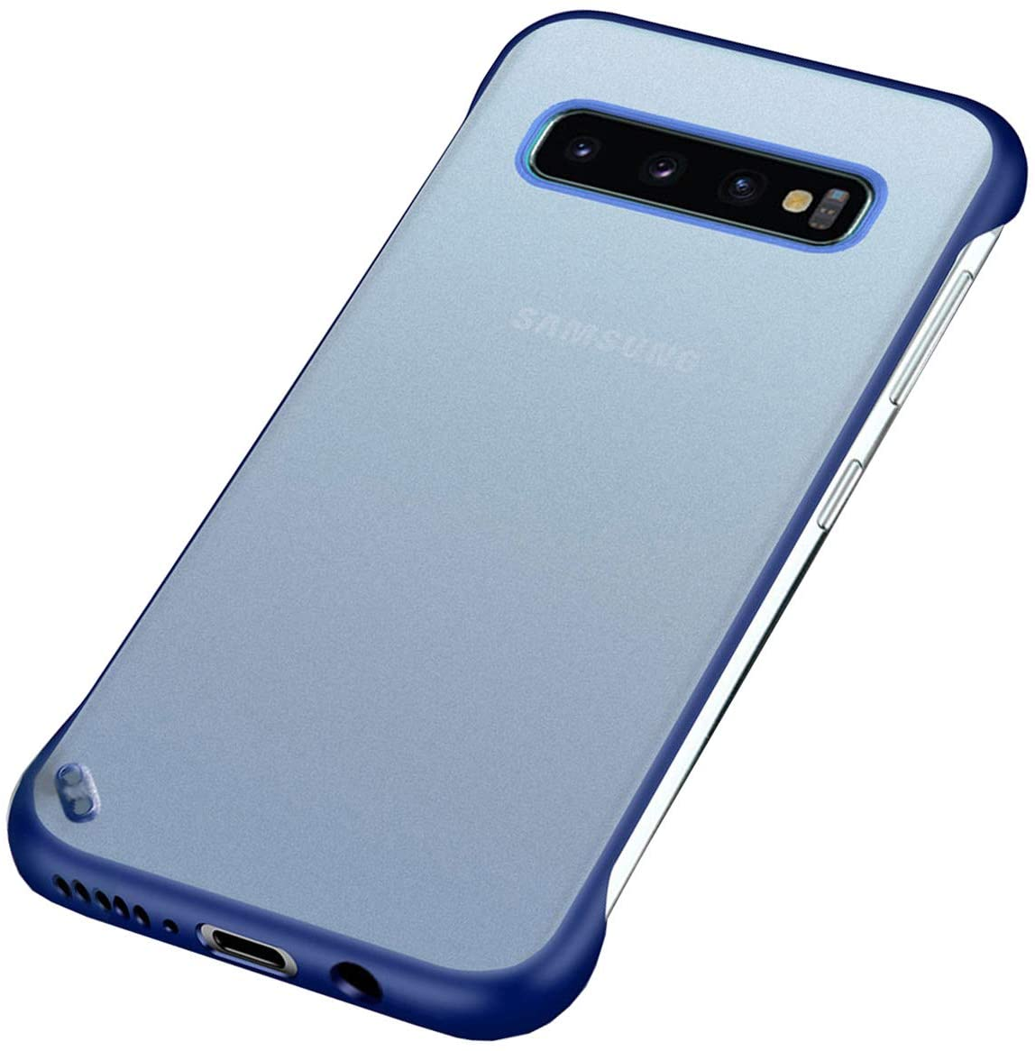 Samsung Galaxy S10 Slim Phone Case, Plastic Matte Hard PC Cover, Lightweight Frameless Design with Reinforced Shockproof Bumper(Blue,17)