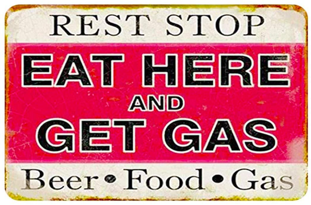 MAIYUAN Metal Vintage Tin Sign Decor-Rest Stop eat here and get Gas Beer&Food&Gas Sign Family bar Shop Decor Sign,12