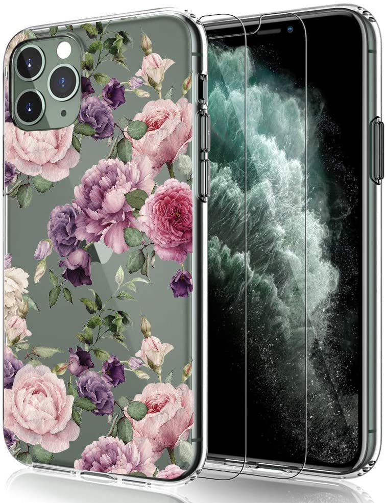 EMZhole iPhone 11 Pro Max Case with Screen Protector, Floral Pattern Clear Design Transparent Hard Slim Case with TPU Bumper Protective Case Compatible for iPhone 11 Pro Max 6.5 inch (Purple Flower)