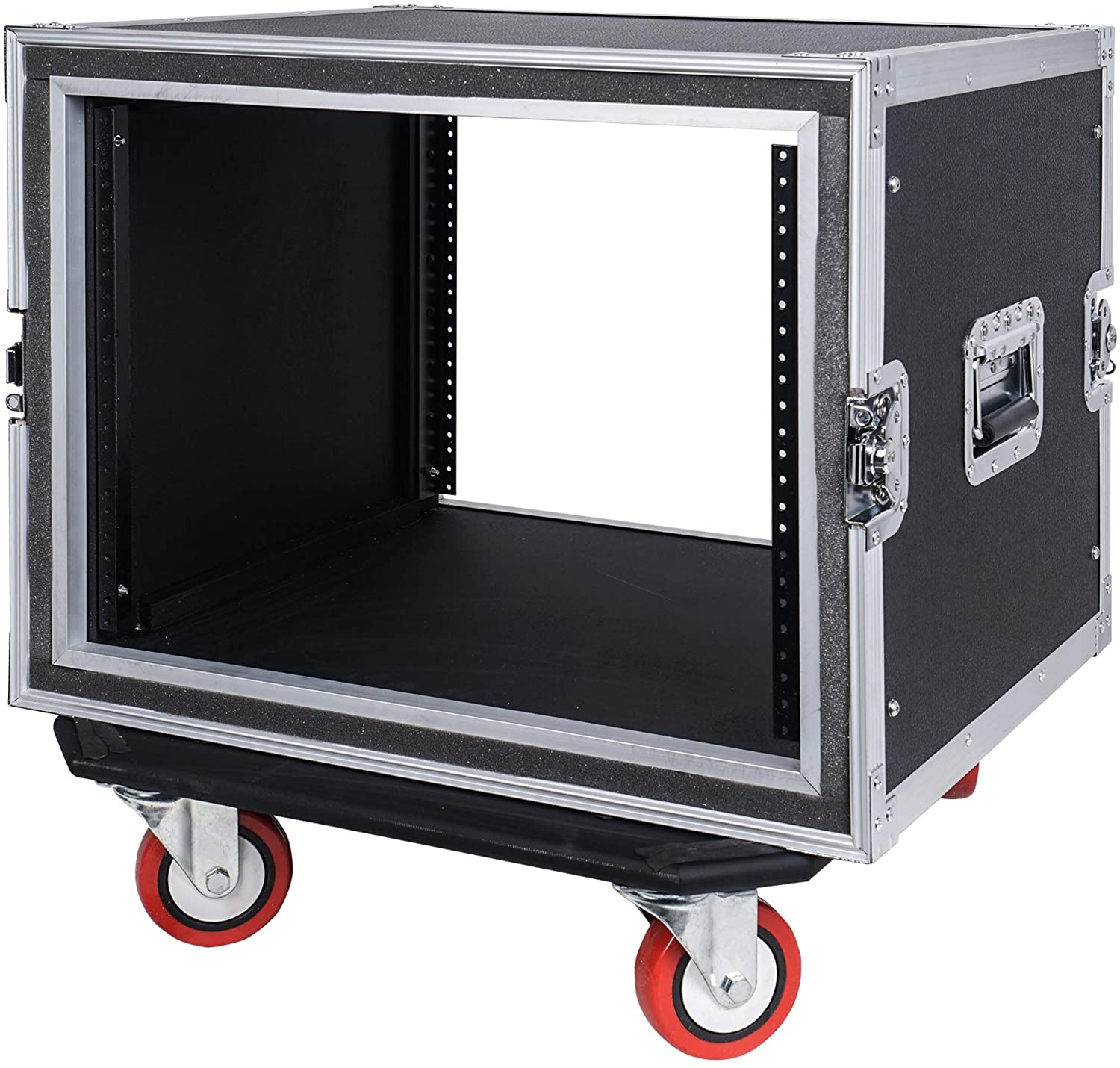 """Sound Town Shock Mount 8U ATA Rack Case with 17"""" Rackable Depth and Casters, 8-Space Size (STRC-SP8UW)"""