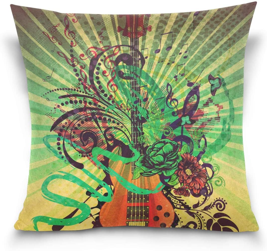 Linomo Throw Pillow Cover 18x18 inch, Fantasy Music Note Guitar Decorative Pillow Cases Cushion Cover for Couch Sofa Bed Home