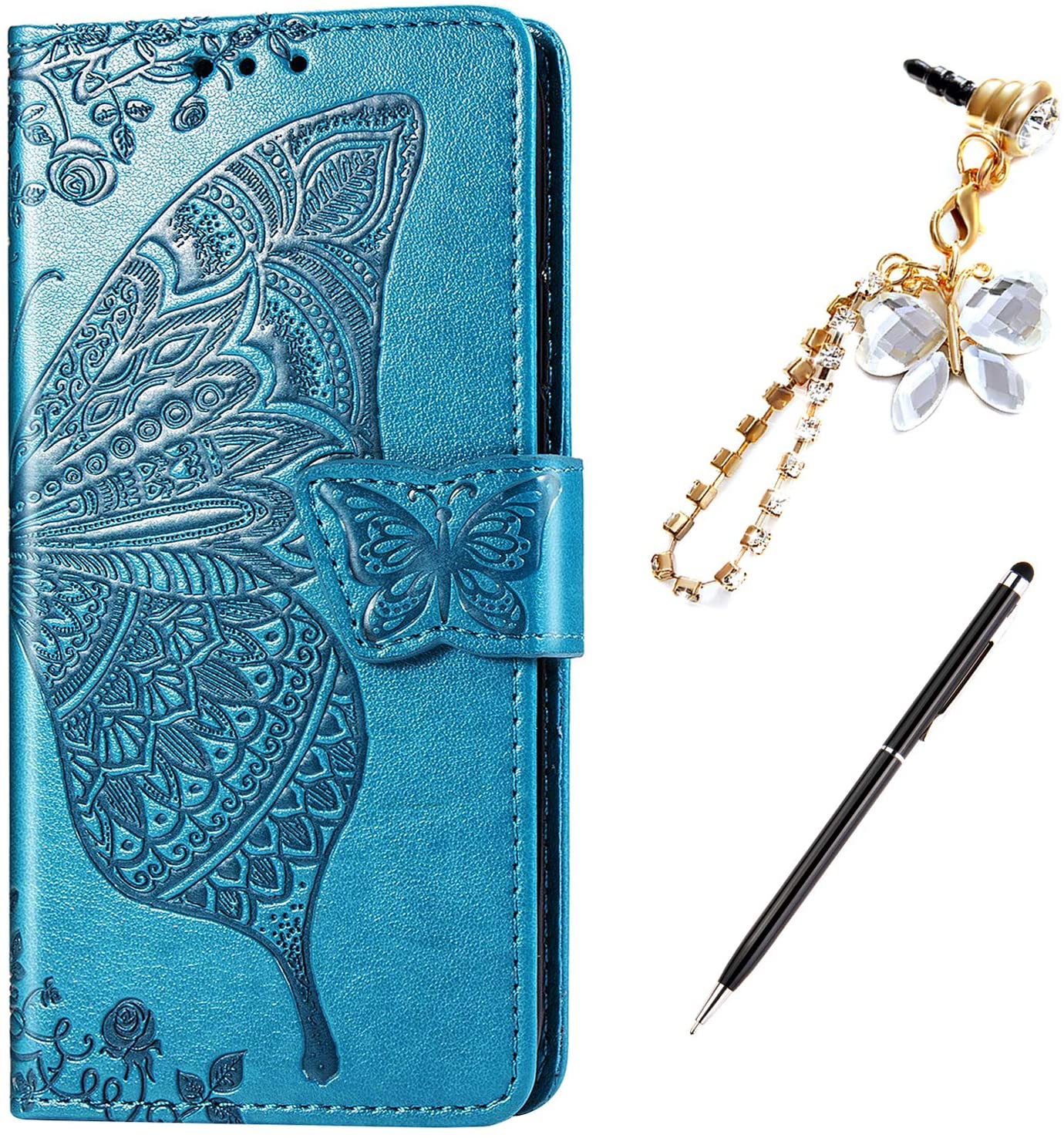 Case for LG Stylo 5 Cover,Embossing Mandala Butterfly Rose Vine Flip Folio Wallet Case PU Leather Stand Card Slots Protective Case Cover + Dust Plug Stylus for LG Stylo 5 Wallet Case,Blue