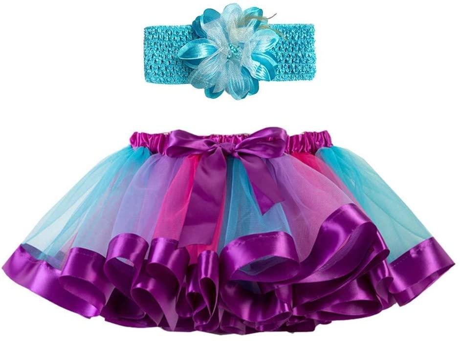Ywoow 2Y-11Y Children's Rainbow Skirt Skirt Puff Skirt + Hair Tie Two Piece Set Girls Kids Tutu Party Dance Ballet Toddler Baby